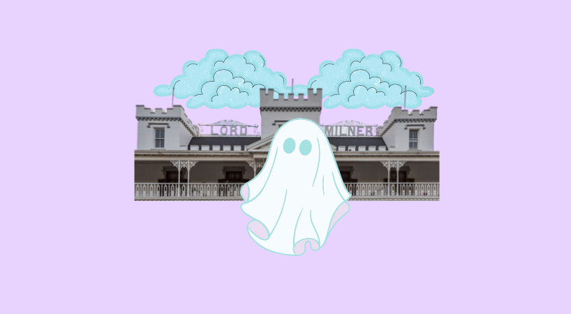 This image described the Lord Milner Hotel in Matjiesfontein. It has a cartoon ghost in, which shows that the hotel is reportedly haunted.